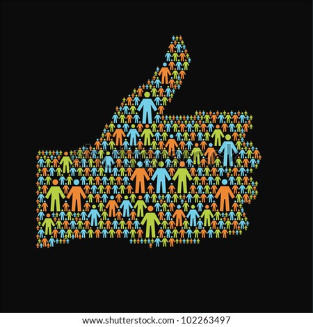 """Social media concept. Vector  background with the hand of thumbs up symbol, which is composed of  people colorful icon. Abstract  illustration with silhouettes of person and sign """"well"""" - stock vector"""
