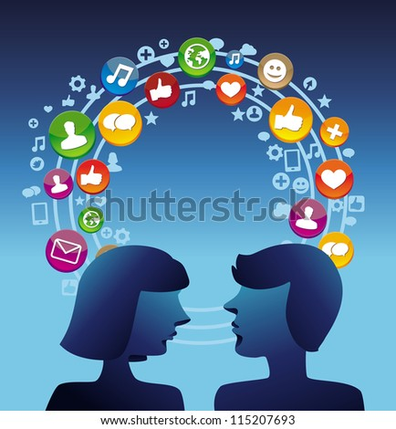 Social media concept with man and woman profiles - vector illustration - stock vector