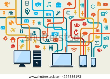Social media connection concept with mobile, notebook and server technology illustration.EPS10 vector file organized in layers for easy editing. - stock vector