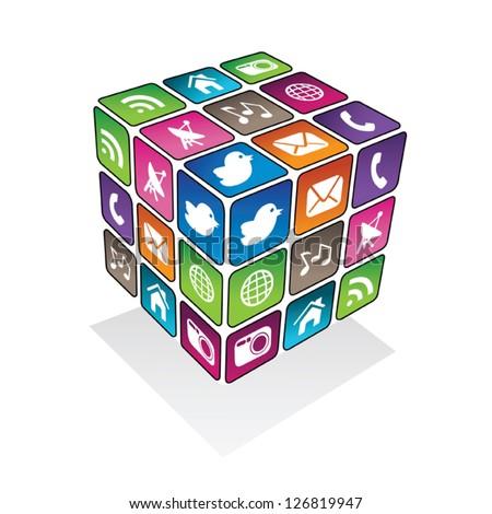 Social media cube - stock vector