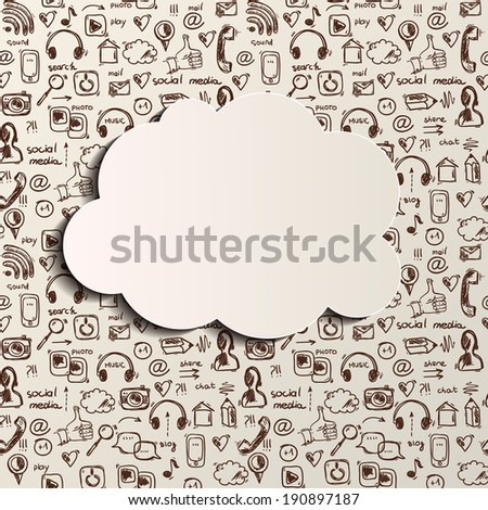 Social media doodle background with cloud shape, vector  - stock vector