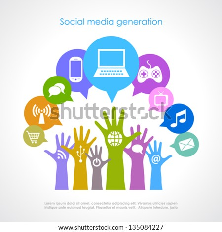 Social media generation, vector poster - stock vector