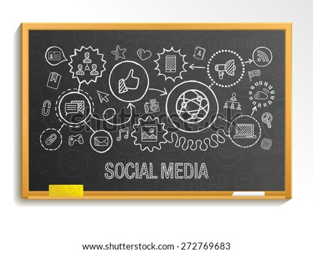 Social media hand draw integrate icons set on school board. Vector sketch infographic illustration. Connected doodle pictogram: internet, digital, marketing, media, network, global interactive concept - stock vector