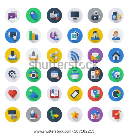 social media icon set, round background, long shadow - stock vector