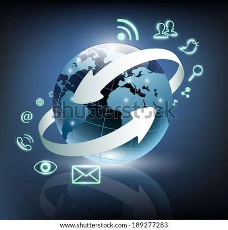 Social media icons are turning around the planet earth - stock vector