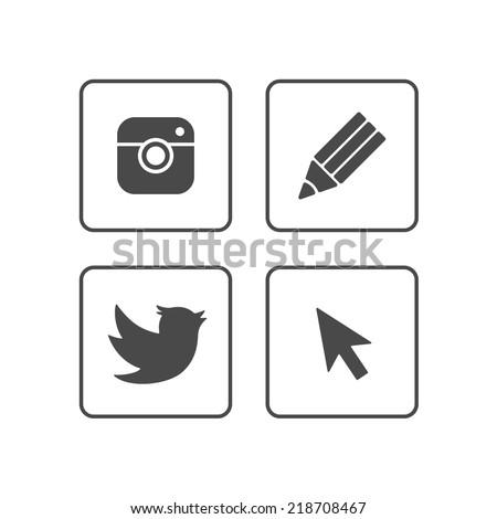 Social Media icons | Black - stock vector