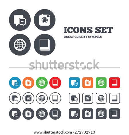 Social media icons. Chat speech bubble and world globe symbols. Hipster photo camera sign. Polaroid photo frames. Web buttons set. Circles and squares templates. Vector - stock vector