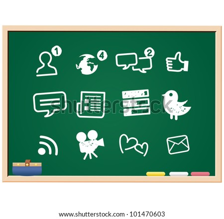 Social Media icons drawing sketch - stock vector