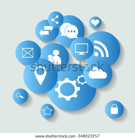 Social media icons for communication or backgrounds - stock vector