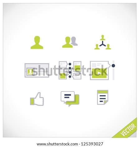 Social Media - icons set - stock vector