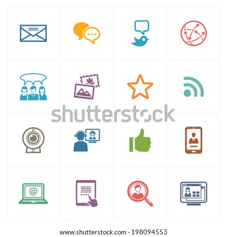 Social Media Icons Set 1 - Colored Series  - stock vector