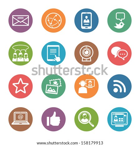 Social Media Icons Set 1 - Dot Series - stock vector