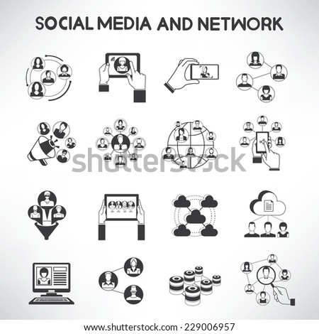social media icons set, social network and communication icons - stock vector