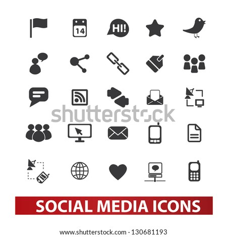social media icons set, vector - stock vector