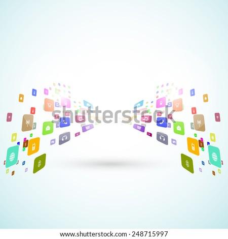 social media icons template, easy editable - stock vector