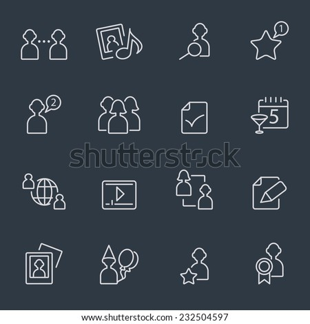 social media icons, thin line design, dark background - stock vector