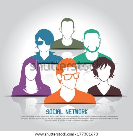 Social media icons with group of people  - stock vector
