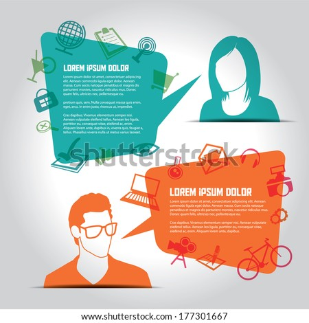 Social media icons with people  - stock vector