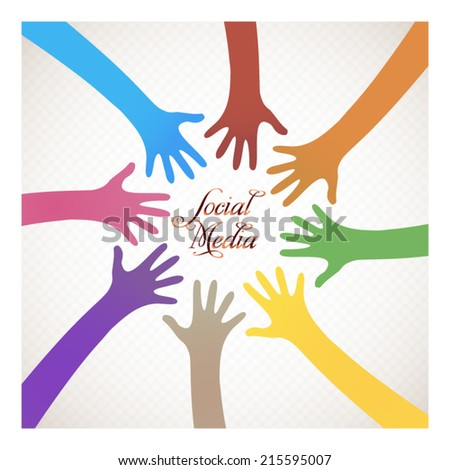 Social media illustration color hands are twisted around concept illustration - stock vector