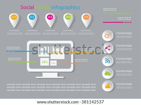 Social media infographic background flat with world map IT - stock vector