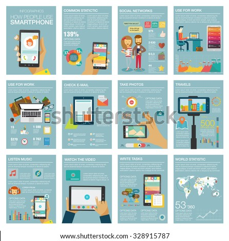 Social Media Infographic set with charts, icons, map, diagrams, other elements. People use smartphone, social networks, camera, looking news, video and picture. Vector illustration, flat modern style. - stock vector