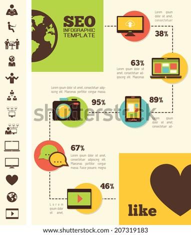 Social Media Infographic Template. - stock vector