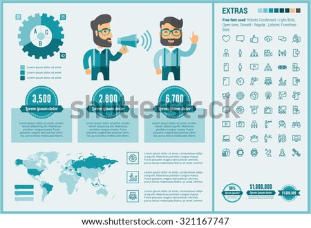 Social Media infographic template and elements. The template includes illustrations of hipster men and huge awesome set of thin line icons. Modern minimalistic flat vector design. - stock vector