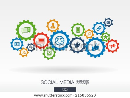 Social media mechanism concept. Abstract background with integrated gears and icons for digital, internet, network, connect, communicate, technology, global concepts. Vector infographic illustration. - stock vector