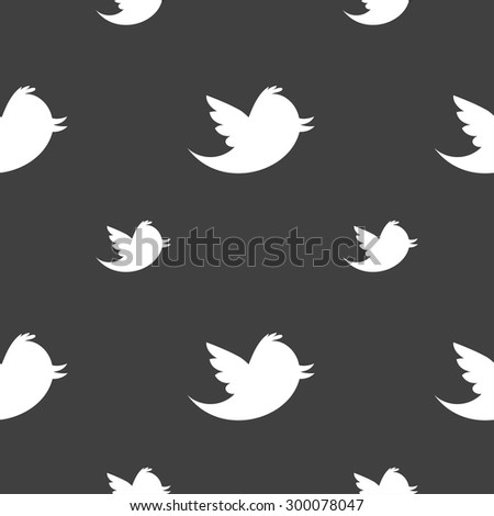 Social media, messages twitter retweet icon sign. Seamless pattern on a gray background. Vector illustration - stock vector