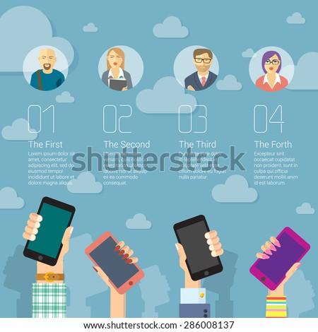 Social media mobile network infographic vector concept. - stock vector