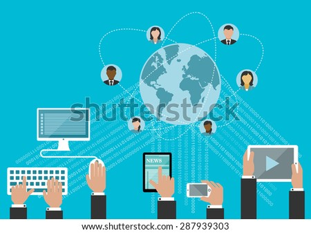Social media network and global communication concept in flat style with hands using desktop computer, smartphone and tablet computers with data streams and globe surrounded user avatars - stock vector