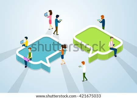 Social Media Network Communication People Crowd With Digital Device Tablet Phone Laptop Computer Chat Bubble 3d Isometric Vector Illustration - stock vector