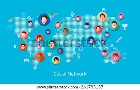 Social media network concept vector illustration - stock vector
