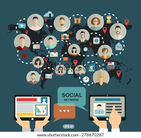 Social media network concept with human hand with tablet avatars and world map on background vector illustration - stock vector