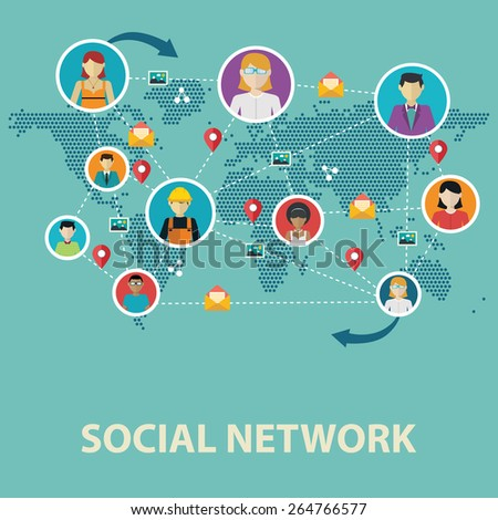 Social media network connection concept. - stock vector