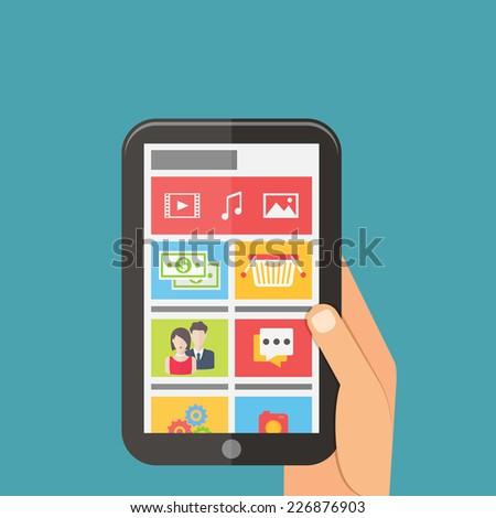 Social media network connection concept, mobile technology. Flat design vector - stock vector