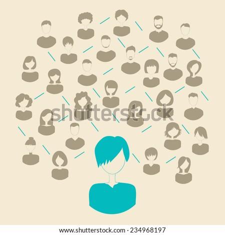 Social media network connection concept. Vector illustration. - stock vector