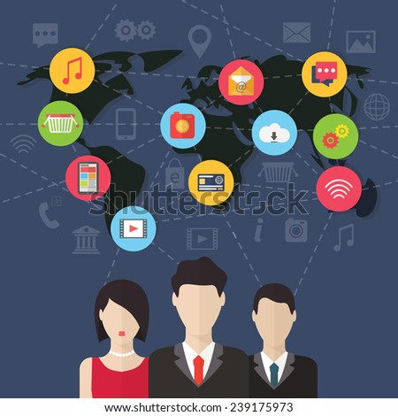 Social media network connection concept with user avatars around the globe. Flat design vector with infographic elements - stock vector