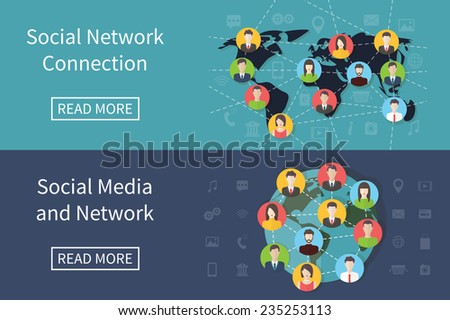 Social media network connection concept with user avatars on the map. Flat design vector banner with infographic elements - stock vector