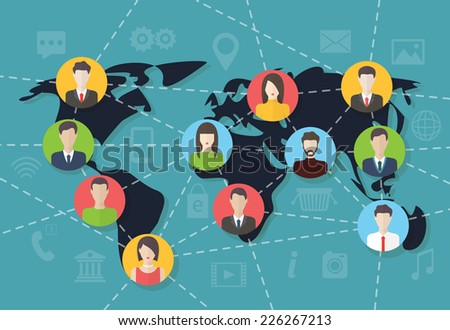 Social media network connection concept with user avatars on the map. Flat design vector with infographic elements - stock vector