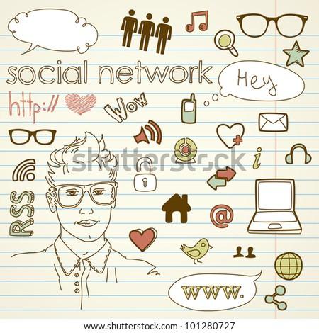Social media network connection doodles - stock vector
