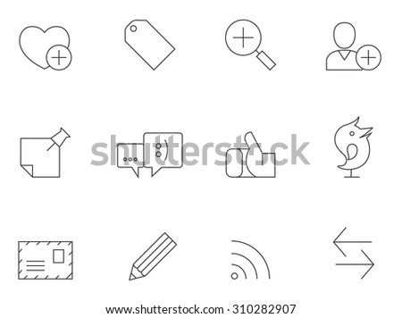 Social media network icons in thin outlines. Communications, information. - stock vector