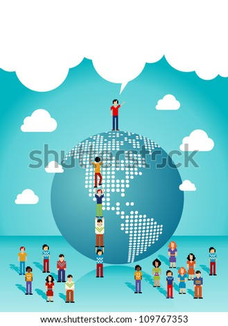 Social media network teamwork expansion in The Americas. Vector illustration layered for easy manipulation and custom coloring. - stock vector