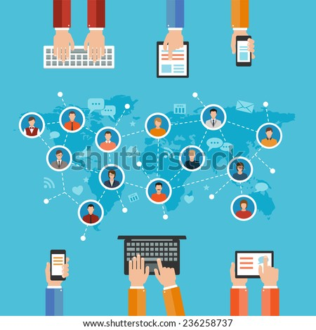 social media networks and communication concept flat design illustration. hands holding and using computer keyboard tablet laptop smart phone and set of people avatars and icons - stock vector