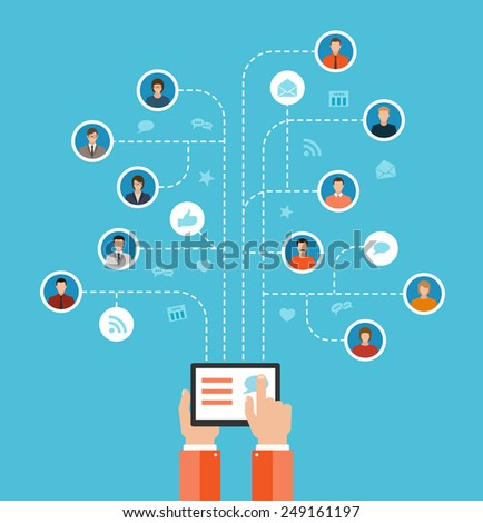 social media networks and communication concept flat design illustration. hands holding and using computer tablet and set of people avatars and icons tree - stock vector