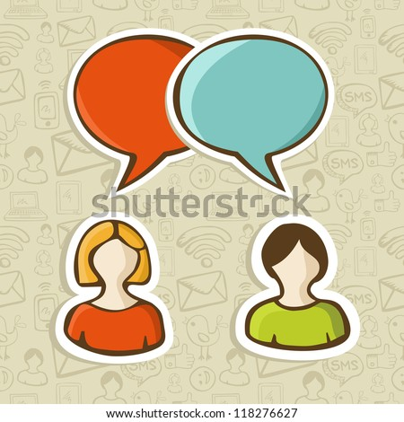 Social media networks users interaction with speech bubbles over pattern. Vector illustration layered for easy manipulation and custom coloring. - stock vector
