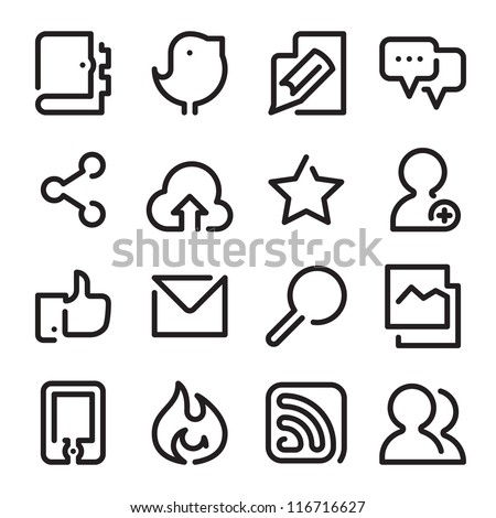 Social Media - One Line Icons - stock vector