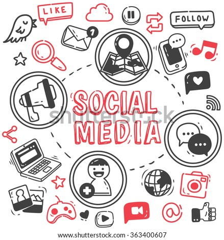 Social media or Internet themed doodle - stock vector