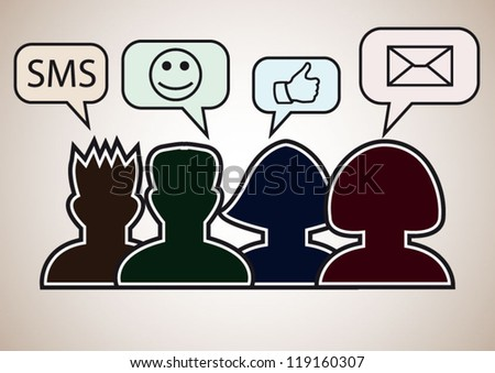 Social media persons with speech bubbles sms, smile, thumb up, mail - stock vector