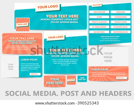 Social media posts, header or banner with retro pattern and logo template. Vector iilustration. EPS 10 - stock vector